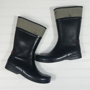 Sperry Top-Sider Rain Boots with Houndstooth Top